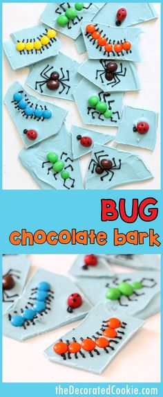 BUG chocolate bark! Easy treat for Halloween, bug-theme party, or science party.