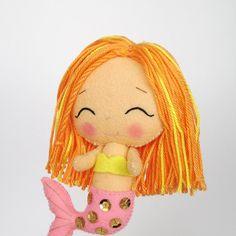 Chibi mermaid 100% wool felt doll little by UnBonDiaHandmade