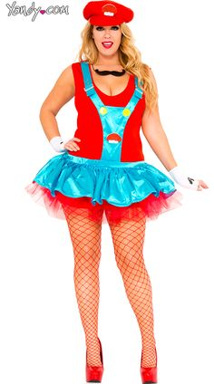 Plus Size Red Playful Plumber Costume