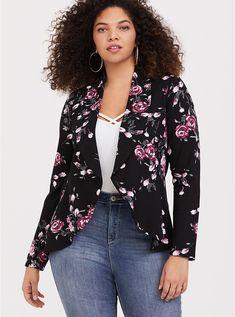 b637c039f13 Black Floral Ponte Flared Blazer. Torrid. Plus Size Blazers for Women   Black