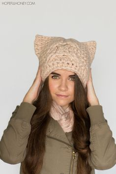 Chunky Cabled Cat Hat - Free Crochet Pattern
