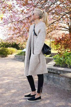 cozy, neutral sweater coat, skinny pants + slip-on sneakers