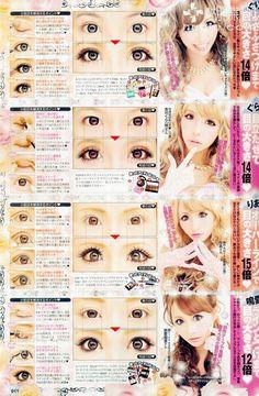 Gyaru Makeup, Cute Eye Makeup, Pretty Makeup, Makeup Inspo, Makeup Inspiration, Makeup Magazine, Gyaru Fashion, Japanese Makeup, Aesthetic Look