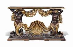 AN ITALIAN PARCEL-GILT AND BRONZED CONSOLE TABLE -  LATE 17TH / EARLY 18TH CENTURY, PROBABLY ROME -  The inverted breakfront moulded top hung with elaborately carved garlands of fruit and foliage, above a sea-god and goddess figure centred by a scallop shell, re-decorated, restorations  42 in. (107 cm.) high; 72 in. (183 cm.) wide; 17½ in. (44.5 cm.) deep