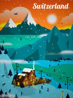 Pop Switzerland The Alps Christmas Travel Vintage Retro Kraft Poster City Poster, Poster S, Vintage Ski Posters, Retro Poster, Pub Vintage, Photo Vintage, Vintage Art, Graphisches Design, Tourism Poster