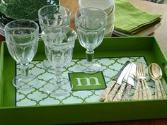 How to Make a Monogrammed Tray : Instead of the customary bottle of wine, give your favorite party host or hostess a monogrammed serving tray that can be used throughout the year.  Could just mod-podge a printable onto painted tray! :)
