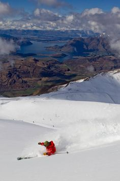 Amazing Views from Treble Cone Over To Lake Wanaka, Otago, New Zealand Lake Wanaka, New Zealand South Island, Beautiful Sites, Snow Skiing, Travel Destinations, Great Friends, Surfing, Scenery, Places To Visit