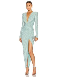 Shop for Alexandre Vauthier Microcrystal Plunging Maxi Dress in Mint at FWRD. Haute Couture Designers, Runway Fashion, Fashion Outfits, Plunge Dress, Edgy Chic, Alexandre Vauthier, Victoria Secret Fashion, Designer Dresses, Luxury Fashion