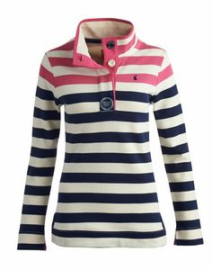 Joules null Damen Sweater, Himbeere mit Streifen.                     Das Cowdray-Shirt ist zurück – der Kleiderschrank jubelt! DAS Sweatshirt für die Freizeit. Der Stehkragen, die frischen Streifen und der Loopback-Baumwollstoff sorgen dafür, dass dieses Shirt seinen Favoritenstatus behält.