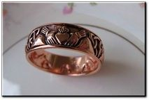 Copper Celtic Claddagh Band Size 7 Ring #CTR3355 -  5/16 of an inch wide.