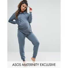 ASOS Maternity LOUNGE Contrast Fabric Jogger ($32) ❤ liked on Polyvore featuring maternity and grey