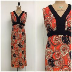 1970s Mod Maxi Dress 70s Orange Paisley by CreatedAndCollected