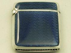 Sterling Silver and Blue Guilloche Enamel Vesta Case - Antique Circa 1910