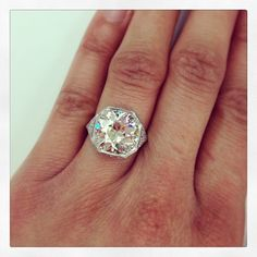 Drop dead gorgeous! Loving the newest member in the Single Stone hand crafted collection. Amazing 5.03ct old European cut diamond set in platinum. Even more stunning in person. #diamond #dtla #bling #platinum #jewels #want #sparkle #singlestone #vintage #jewelry #engagement #forever @singlestonemissionstreet