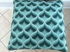 Hunter green bargello pillow, with dark green ultrasuede backing. Approximately 17 square, 100% woolen threads. Companion pieces with reverse color pattern. Will sell as pair for $500 or $275 each. Will design and stitch canvas to match your color scheme. Please contact me for details and estimated delivery time.