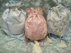 Pink Chamgagne and Pale Blue Victorian Bridal Reticule Purses