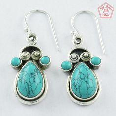 925 Sterling Silver Turquoise Stone Fashion Dangle & Drop Earrings E4070 #SilvexImagesIndiaPvtLtd #DropDangle