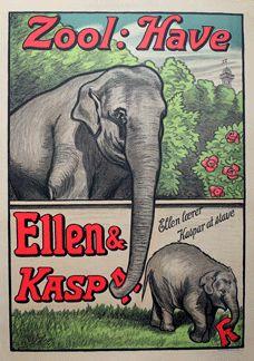 Zoologisk Have - Elefanter - Ellen & Kaspar. Elephant poster from the Copenhagen Zoo