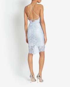 LOVER EXCLUSIVE LACE-Up Back Fitted Lace Dress | Shop IntermixOnline.com