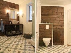 Cement tiles / Sementtilaatta lattia kylpyhuoneessa, sopii rustiikkisen seinän kanssa http://www.domusclassica.com/tuotteet/tiilet-ja-laatat/sementtilaatat/620/
