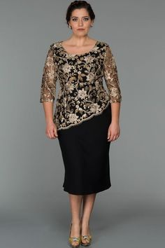 Schwarz-Gold Plus Size Plus Size Abendkleid - Outfits Evening Dresses Plus Size, Plus Size Dresses, Plus Size Outfits, Short Dresses, Formal Dresses, Wedding Dresses, Mother Of Groom Dresses, Mothers Dresses, Mom Dress