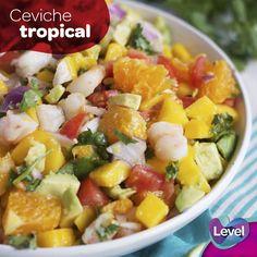 Prepara un delicioso ceviche tropical.