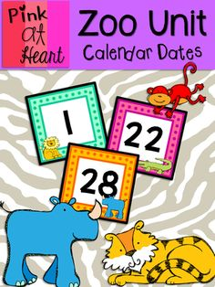 Zoo Unit - Calendar Dates from kac2877 from kac2877 on TeachersNotebook.com (10 pages)  - PDF. 1-31 Calendar Dates PLUS blank cards!
