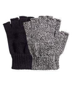 2-pack Fingerless Gloves | Black/white melange | Men | H&M US