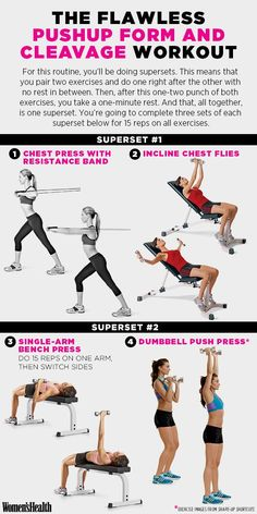 Do This Workout for Kickass Pushup Form and Cleavage You'll Want to Flaunt Women's Health Magazine Weight Training, Weight Lifting, Weight Loss, Lose Weight, Lose Fat, Fitness Workouts, Bike Workouts, Lifting Workouts, Stomach Exercises