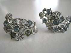 Vintage 1940's earrings ice blue and by vintageboxofdelights, $25.00