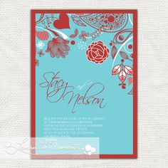 turquoise and red wedding red and aqua blue pocket fold wedding