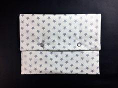 Pochette écru étoiles et pois argentés intérieur plastifié : Sacs à main par only-by-elise