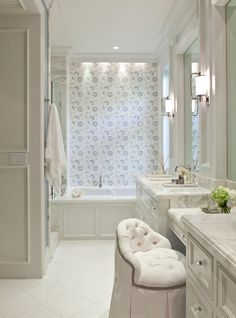 Since not connecting shower to tub, can move to b down and have one vanity butt against it. And other vanity on other side of door