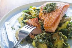 Salmon with salsa verde, smashed potatoes and spinach - Nadia Lim