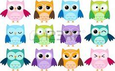 Set van 12 cartoon uilen met verschillende emoties Stockfoto - 10329560