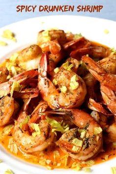Drunken Shrimp Recipe, Spicy Shrimp Recipes, Shrimp Recipes For Dinner, Fish Recipes, Seafood Recipes, Appetizer Recipes, Cooking Recipes, Shrimp Dishes, Gourmet