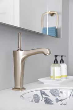 Margaux® faucet     Botanical Study™ sink     The centerpiece of the bathroom, the decorative sink, featuring a botanical design, and the brushed bronze faucet combine to create a delicate artistry.