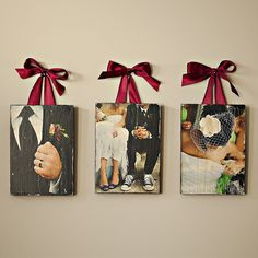 Have your favorite wedding images imprinted on 3/4-inch wood grain.