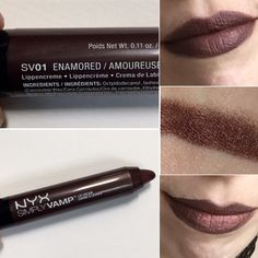 NYX burgundy with red shimmer Simply Vamp Lip Cream in Enamored. OMG LOVE IT.  I might need to get a lip primer for it so it will stay put.