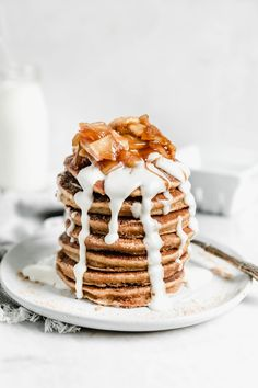 Pancakes For Dinner, Tasty Pancakes, Pancakes And Waffles, Blueberry Pancakes, Smoothie, Broma Bakery, Apple Cider Donuts, Cooked Apples, Baking Flour