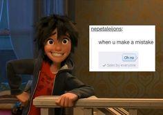 Hahahahaha I understood that reference 😂 Big Hero 6, Disney And Dreamworks, Disney Pixar, Gogo Tomago, Hiro Hamada, Disney Jokes, The Big Four, Cartoon Network Adventure Time, Baymax