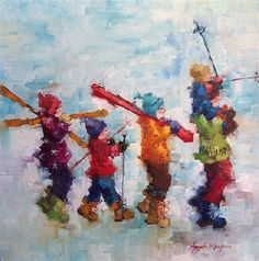 The snow and the skiing in the illustrations: Angela Morgan