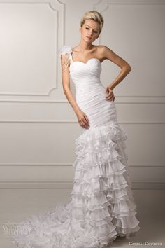 capelli couture 2013 bridal loredana one shoulder ruffle wedding dress