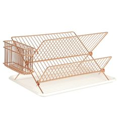 Copper wire dish rack - I love this dish rack. It looks great and folds flat when not in use. #Home #Decor #Organise