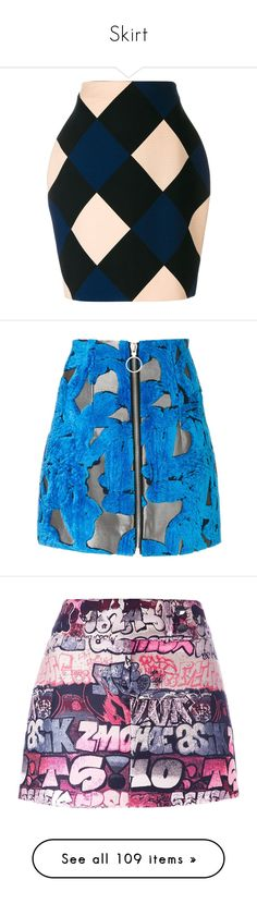 """""""Skirt"""" by simplefashionblack ❤ liked on Polyvore featuring skirts, multicolour, high waisted knee length skirt, high rise skirts, multi colored skirt, multi color skirt, nina ricci skirt, blue, blue and white skirt and blue skirts"""