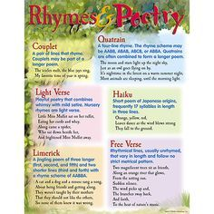 Chart shows different types of poetry with samples and definitions of each. Back of chart features reproducible activities, subject information, and helpful tips. 17\