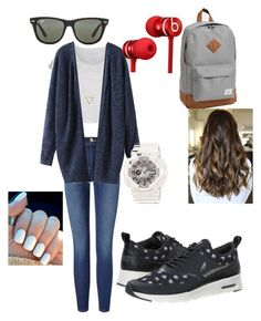 """school outfit"" by jojogogo2003 on Polyvore featuring Frame Denim, NIKE, Pieces, Wanderlust + Co, G-Shock, Herschel Supply Co., Beats by Dr. Dre and Ray-Ban"