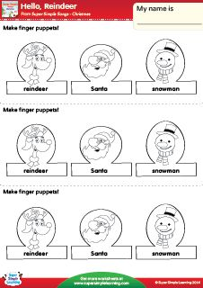 """Hello, Reindeer"" Make Finger Puppets! Christmas Worksheet from Super Simple Learning. #preK #kindergarten #ESL"