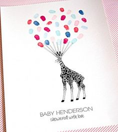 "Giraffe fingerprint guest book perfect for baby showers, naming days christenings and birthdays. Perfect for ""Guess the baby's gender"" using pink & blue."