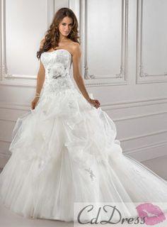 Gorgeous Strapless Tulle and Flower Chapel Train Ball Gown Wedding Dress - Wedding Dresses - CDdress.com